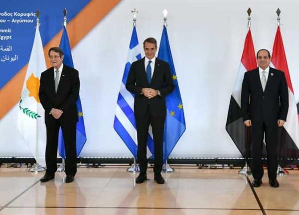 مؤتمر صحفي للرئيس السيسي ونظيره القبرصي ورئيس وزراء اليونان